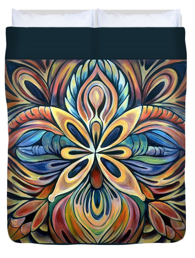 Mandala Duvet Cover featuring the painting Illumination by Shadia Derbyshire