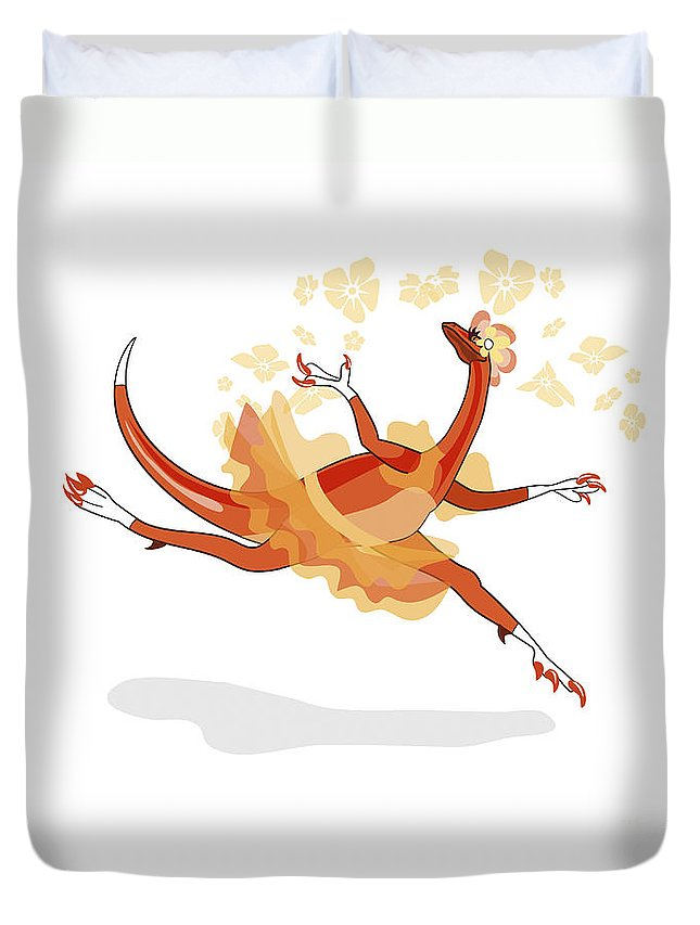 Cutout Duvet Cover featuring the digital art Illustration Of A Ballerina Dancing by Stocktrek Images