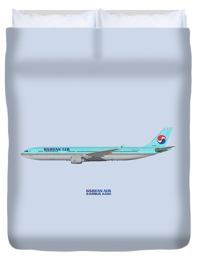 Airbus Duvet Cover featuring the digital art Illustration Of Korean Air Airbus A330-300 - Blue Version by Steve H Clark Photography