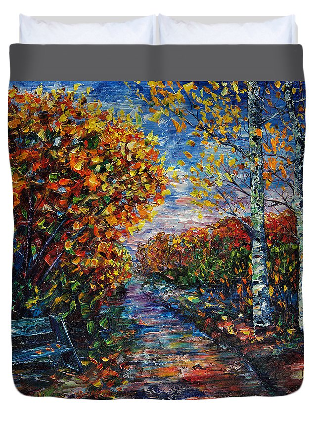 Painting Duvet Cover featuring the painting I'm On My Way by Lena Owens OLena Art