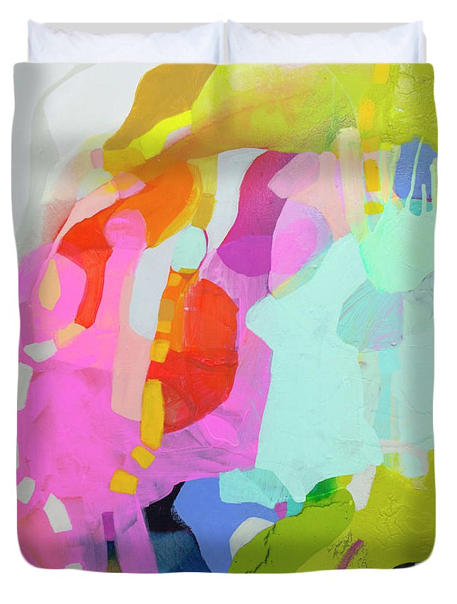 Abstract Duvet Cover featuring the painting I'm So Glad by Claire Desjardins