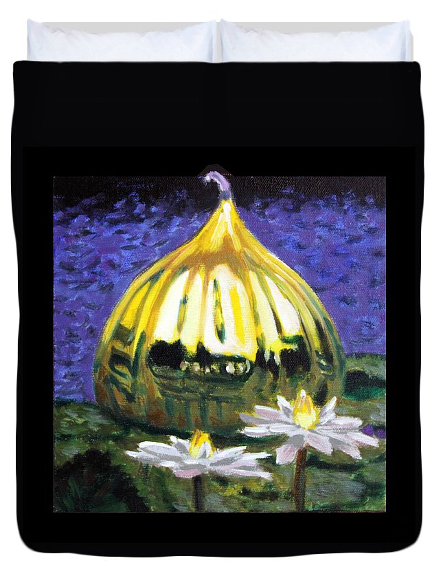 Yellow Blown Glass Duvet Cover featuring the painting Image Number Eleven by John Lautermilch