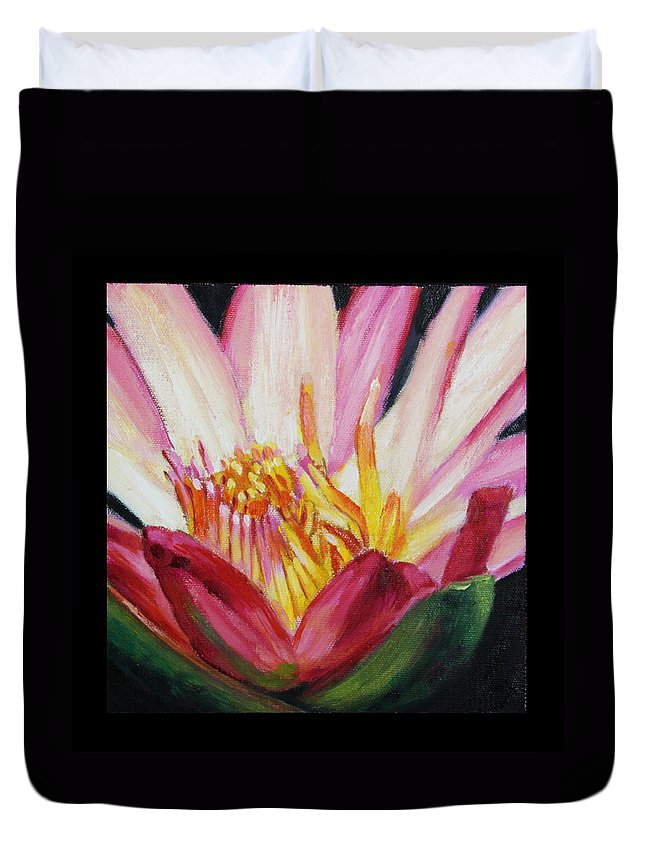 Water Lily Duvet Cover featuring the painting Image Number Ten by John Lautermilch