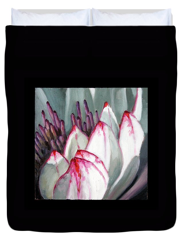 White And Ruby Red Water Lily Duvet Cover featuring the painting Image Number Twelve by John Lautermilch