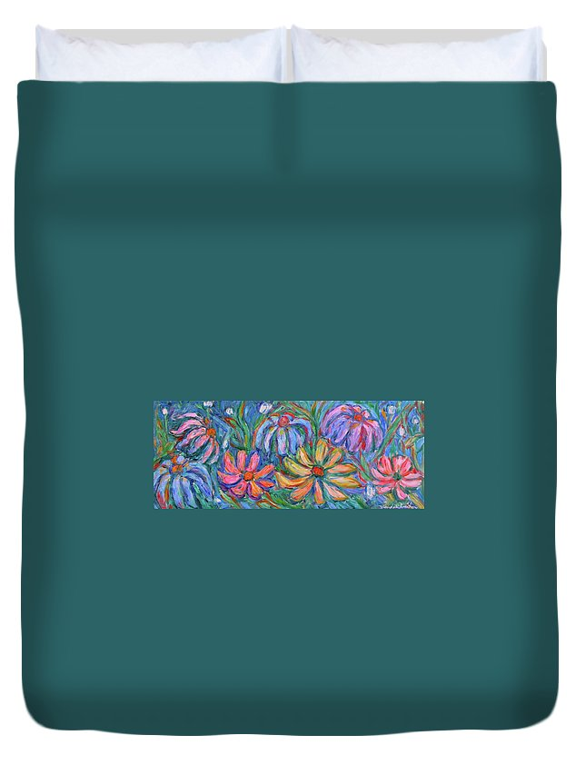 Flowers Duvet Cover featuring the painting Imaginary Flowers by Kendall Kessler