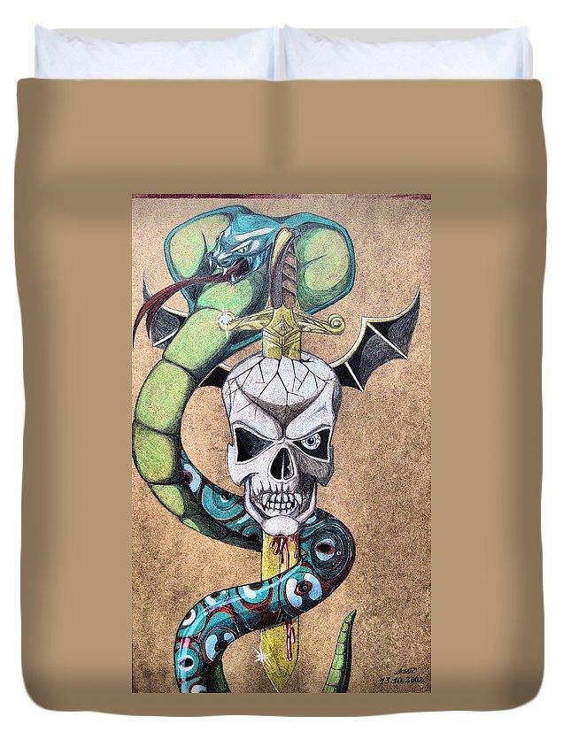 Cobra Duvet Cover featuring the drawing imaginative Simbol by Alban Dizdari