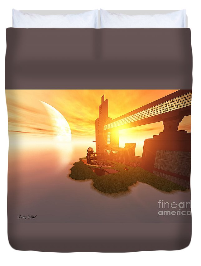 Space Art Duvet Cover featuring the painting Imagine by Corey Ford