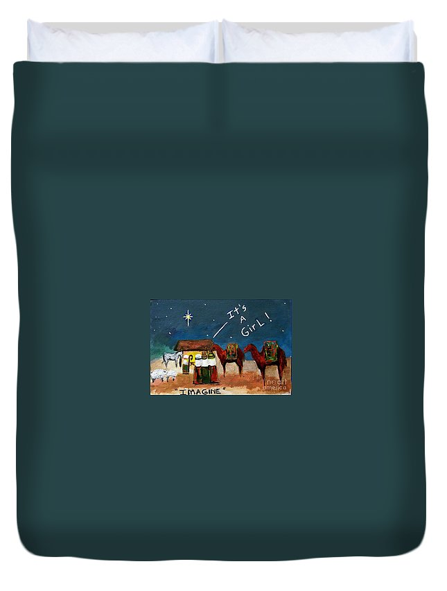 Christmas Card Duvet Cover featuring the painting Imagine by Frances Marino