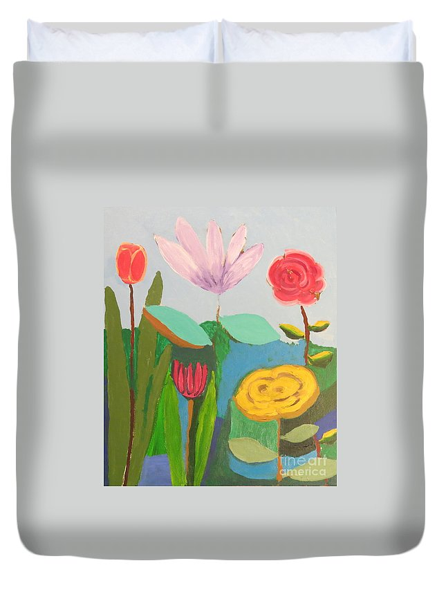 Flowers Duvet Cover featuring the painting Imagined Flowers One by Rod Ismay