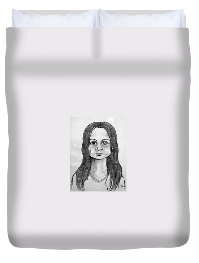 Portrait Duvet Cover featuring the drawing Immigrant Girl by Marco Morales