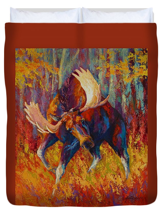 Moose Duvet Cover featuring the painting Imminent Charge - Bull Moose by Marion Rose