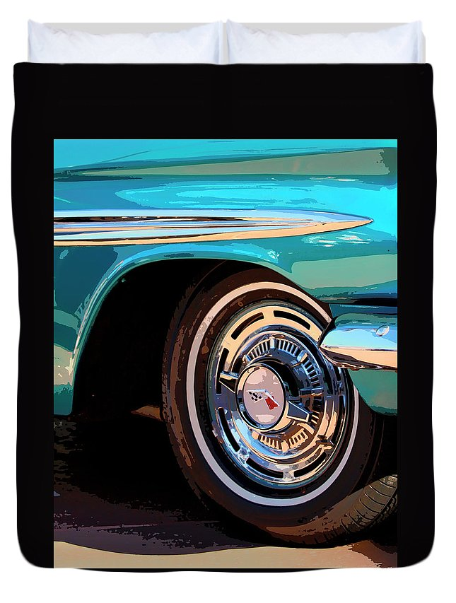 Classic Car Duvet Cover featuring the photograph Impala by William Dey