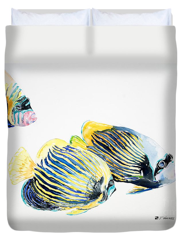 Angel Duvet Cover featuring the painting Imperial Angels by Tanya L Haynes - Printscapes