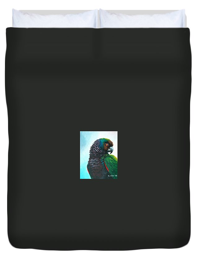 Chris Cox Duvet Cover featuring the painting Imperial Parrot by Christopher Cox