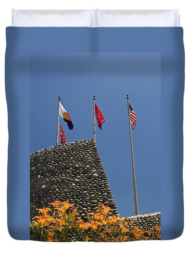 Imposing Duvet Cover featuring the photograph Imposing Flags by Douglas Barnett
