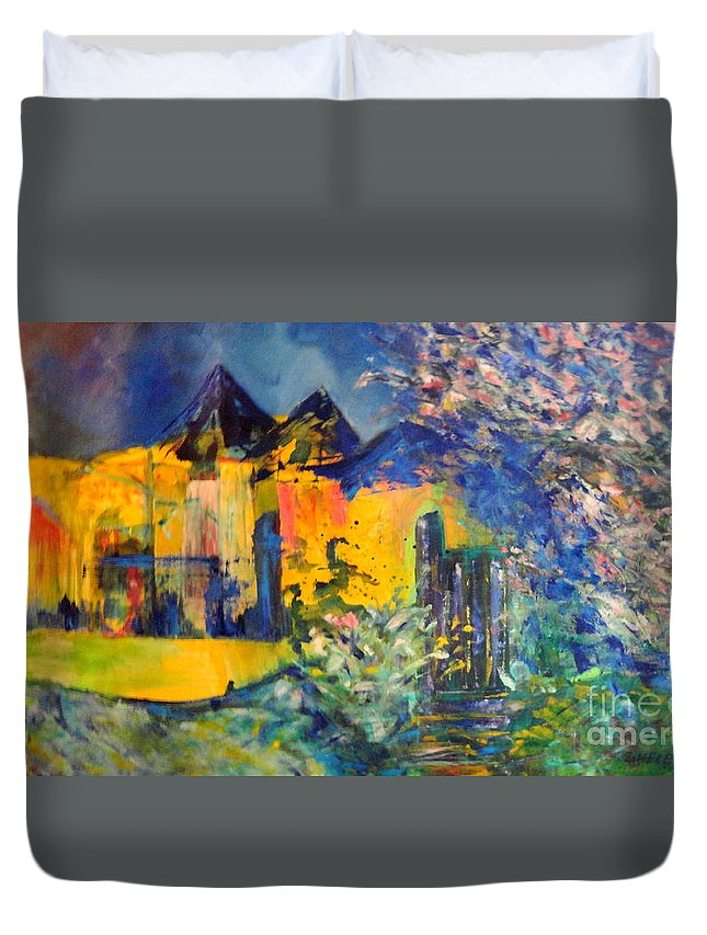 Abstract Duvet Cover featuring the painting Impression Of Spring by Dagmar Helbig