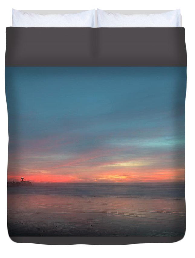 Central California Coast Duvet Cover featuring the photograph Impression, Sunset by Bill Roberts
