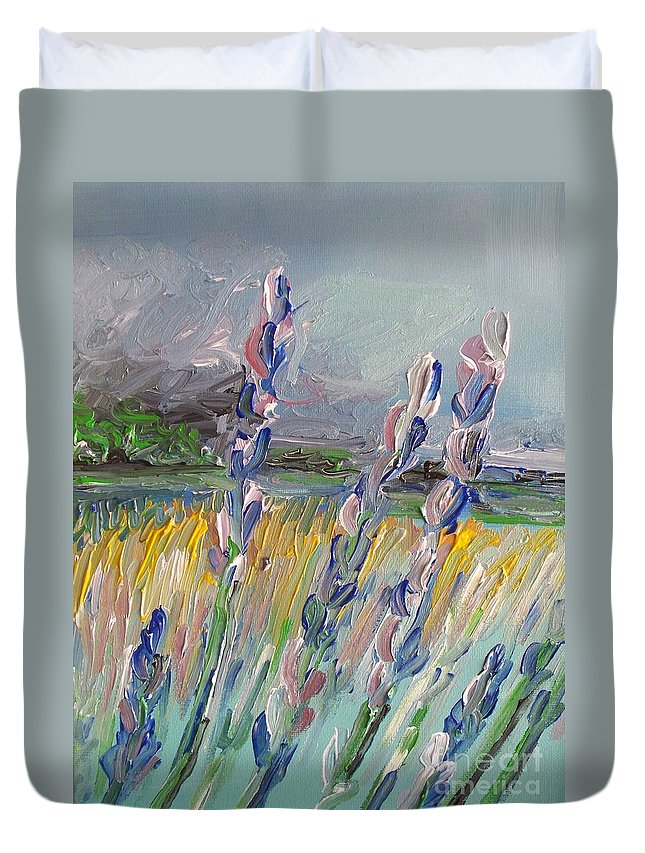 Abstract Duvet Cover featuring the painting Impressionism Fantasy Field by Eric Schiabor