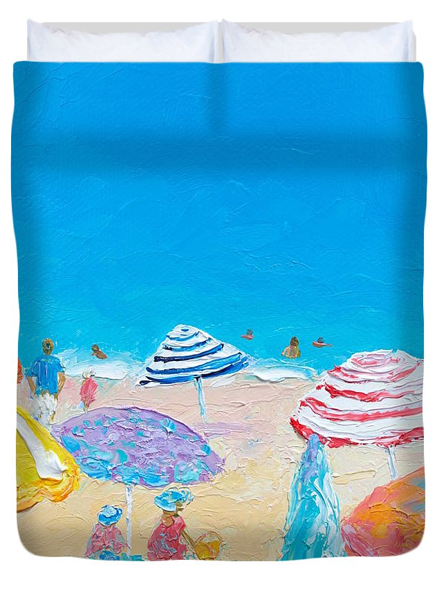Beach Duvet Cover featuring the painting Impressionist Beach Painting by Jan Matson