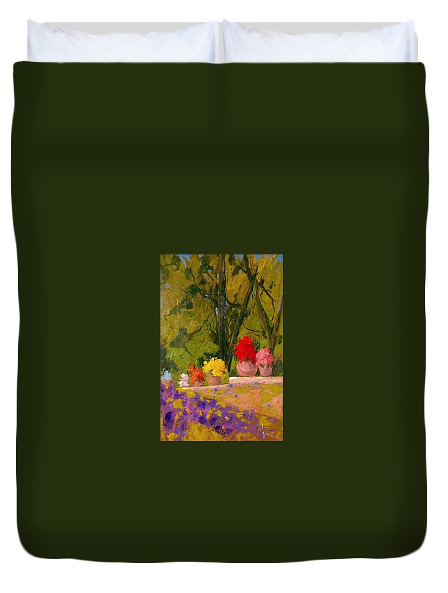 Mazzi Duvet Cover featuring the painting Impressionist Garden by Aldo Mazzi