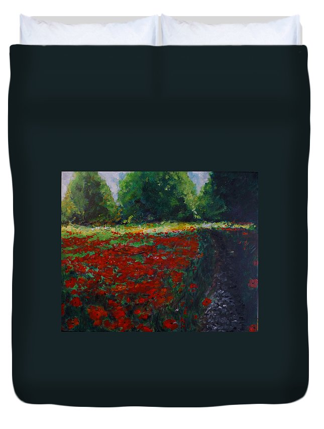 Poppy Duvet Cover featuring the painting Impressionist Poppy Field by Lizzy Forrester