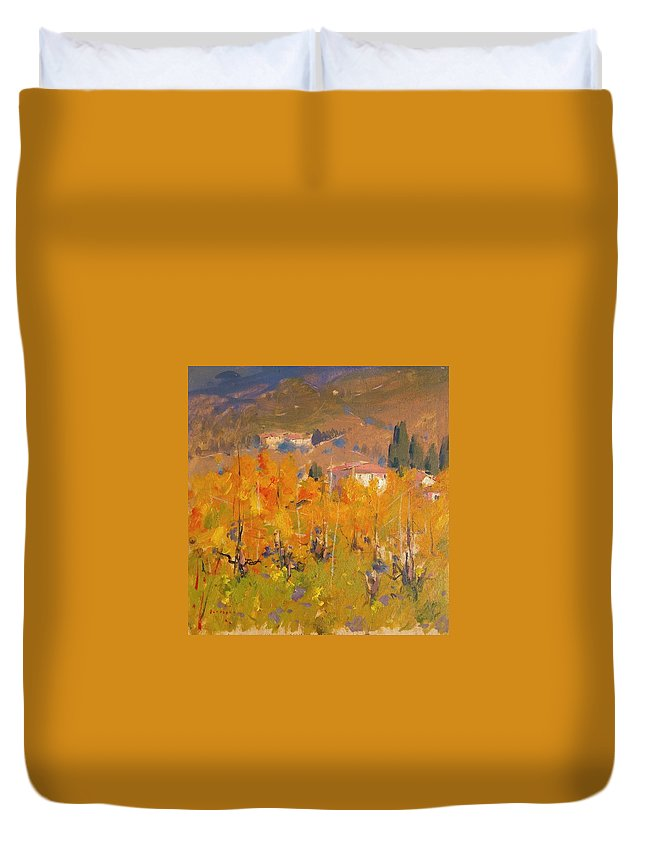 Mazzi Duvet Cover featuring the painting Impressionist Vineyard - Tuscany by Aldo Mazzi