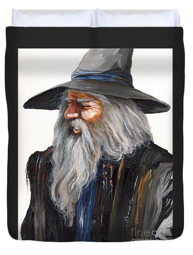 Fantasy Art Duvet Cover featuring the painting Impressionist Wizard by J W Baker