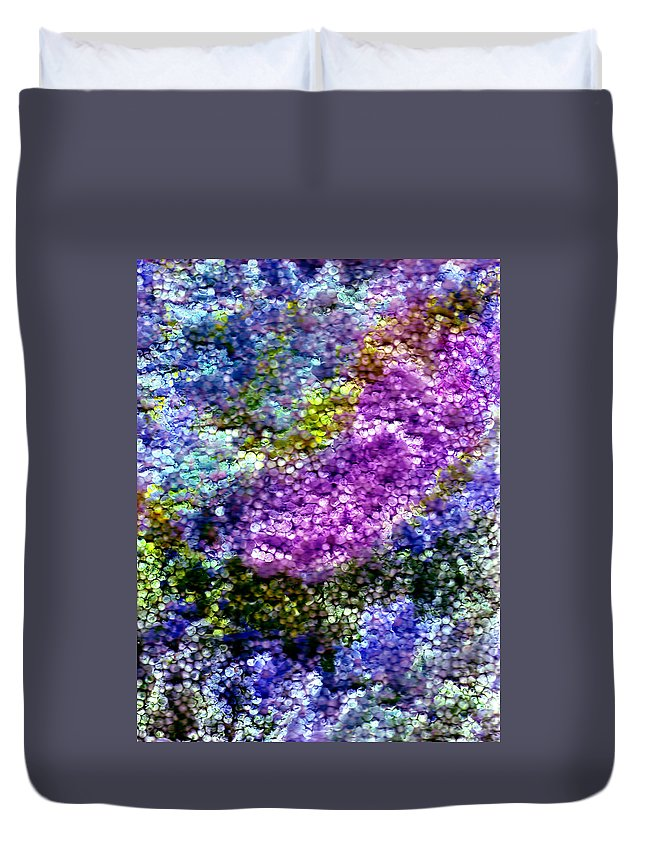 Abstract Duvet Cover featuring the painting Impressions From The Garden by Wayne Potrafka