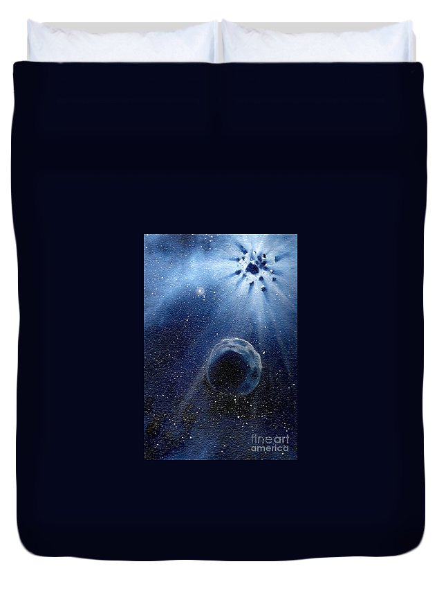Outerspace Duvet Cover featuring the painting Impressive Impact by Murphy Elliott