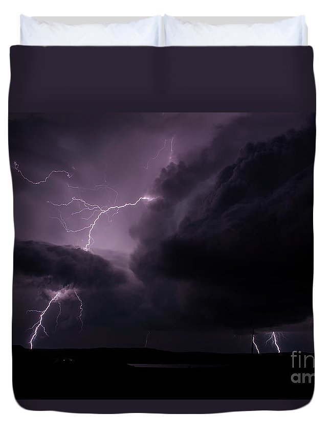 Lightning Duvet Cover featuring the photograph Impressive Lightning by Francis Lavigne-Theriault