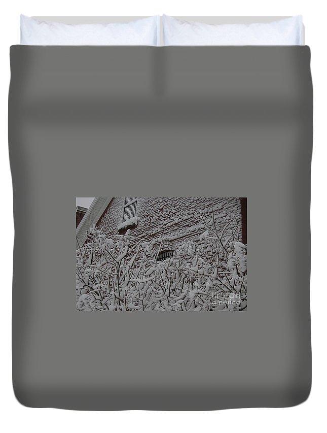 Brick Duvet Cover featuring the photograph Imprisoned by Faith Harron Boudreau