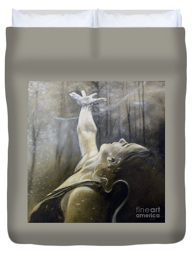 Spitfire Duvet Cover featuring the painting In Awe by Riek Jonker