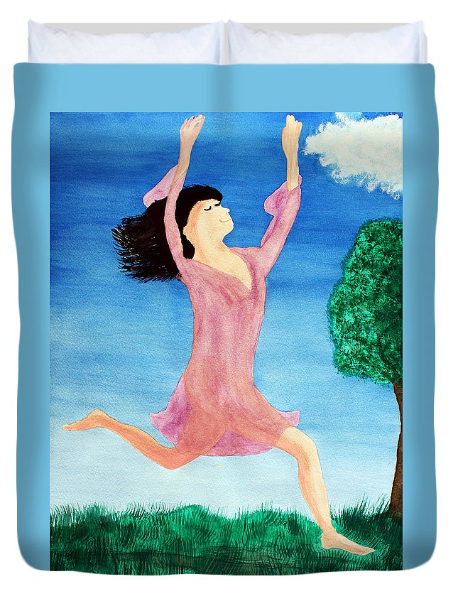 Adult Duvet Cover featuring the painting In Between Heaven And Earth by Lee Serenethos