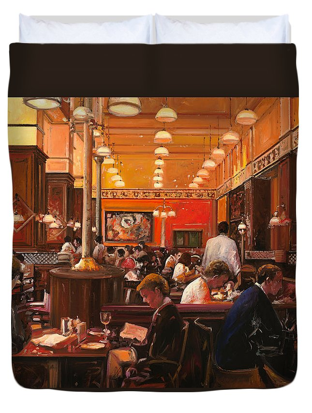 Coffee Shop Duvet Cover featuring the painting In Birreria by Guido Borelli