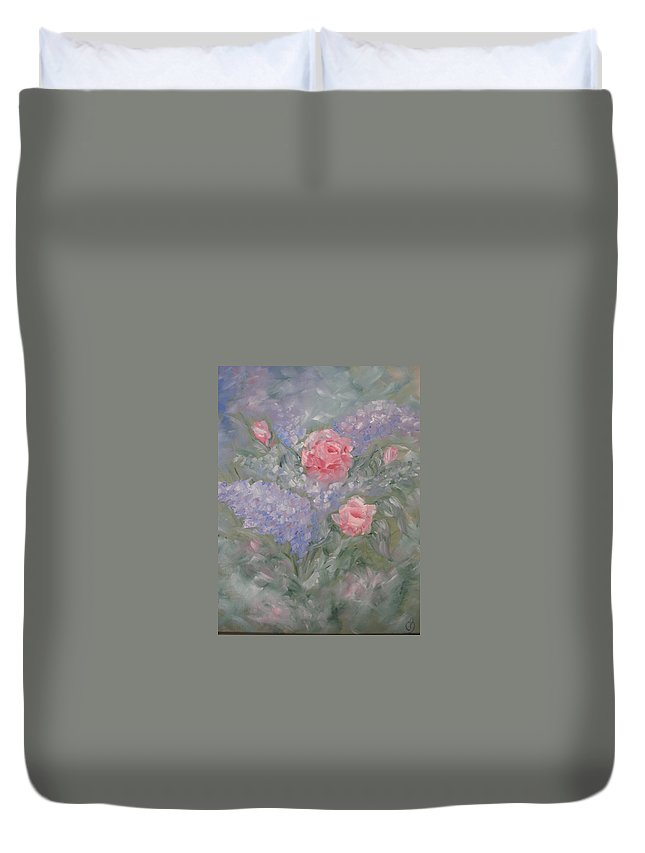 Flowers Duvet Cover featuring the painting In Bloom by Carrie Mayotte