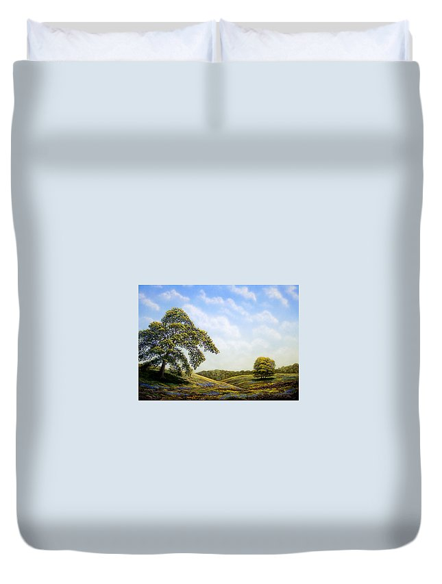 Landscape Duvet Cover featuring the painting In Bloom by Frank Wilson