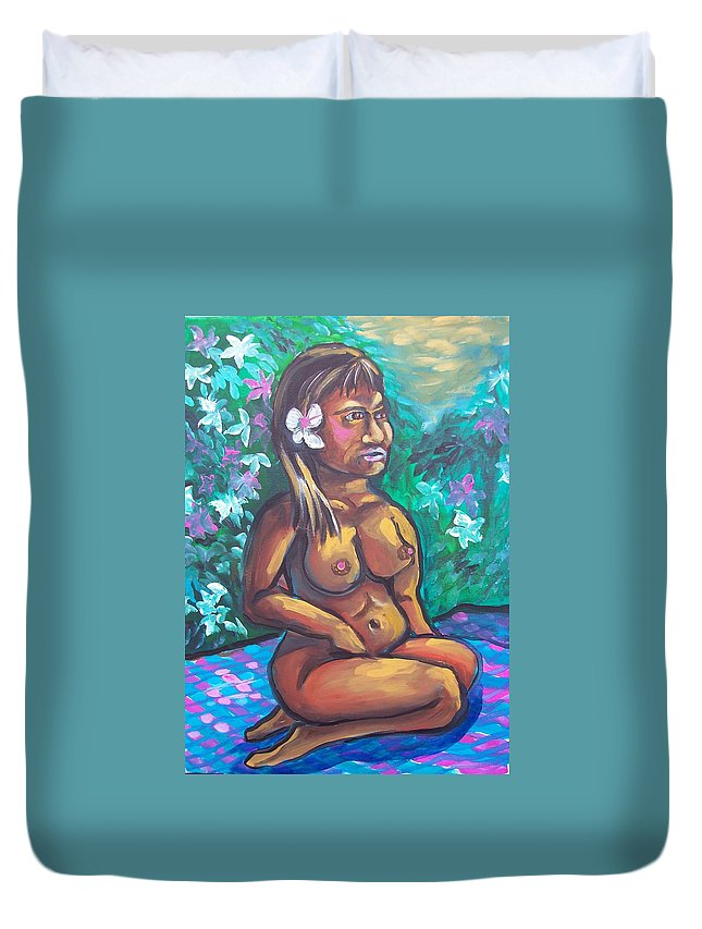 Tahitian Girl Duvet Cover featuring the painting In Bloom by Kevin Stonebraker
