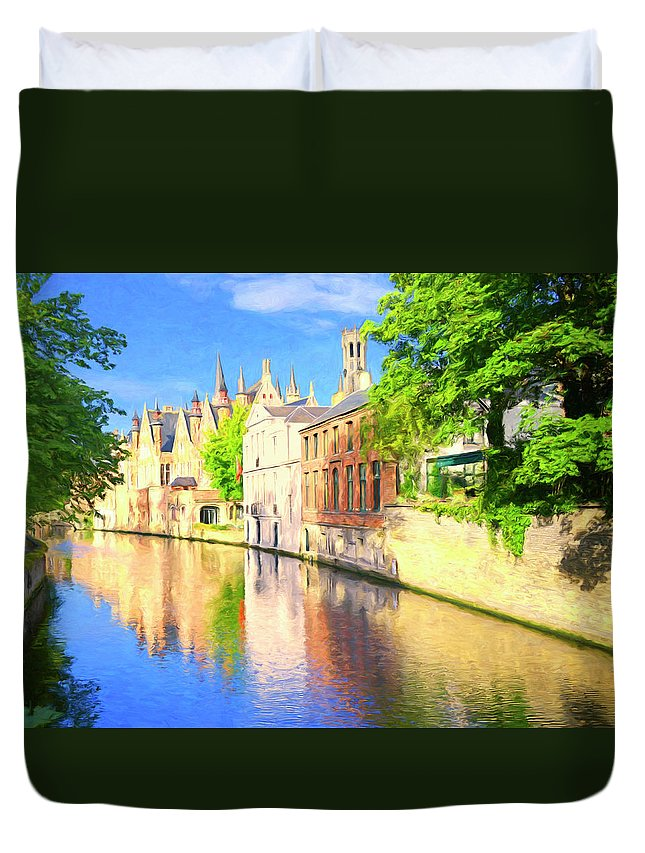 Bruges Duvet Cover featuring the painting In Bruges by Dominic Piperata