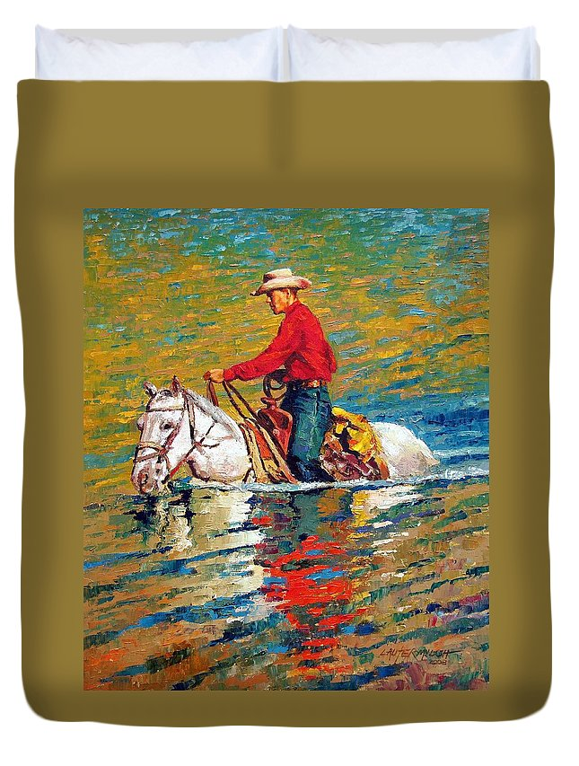 Cowboy Duvet Cover featuring the painting In Deep Water by John Lautermilch