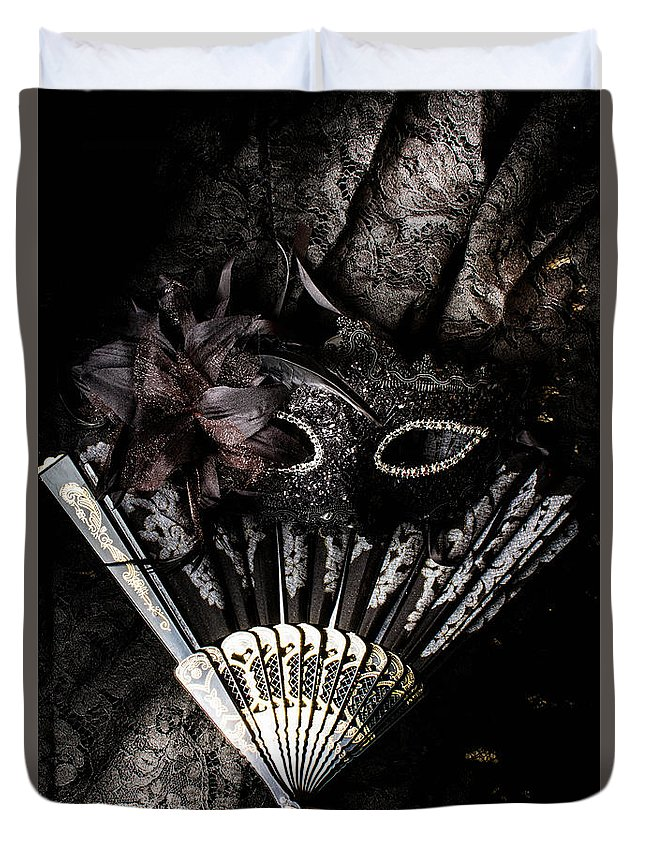 Masquerade Duvet Cover featuring the photograph In Fashion Of Mystery And Elegance by Jorgo Photography - Wall Art Gallery
