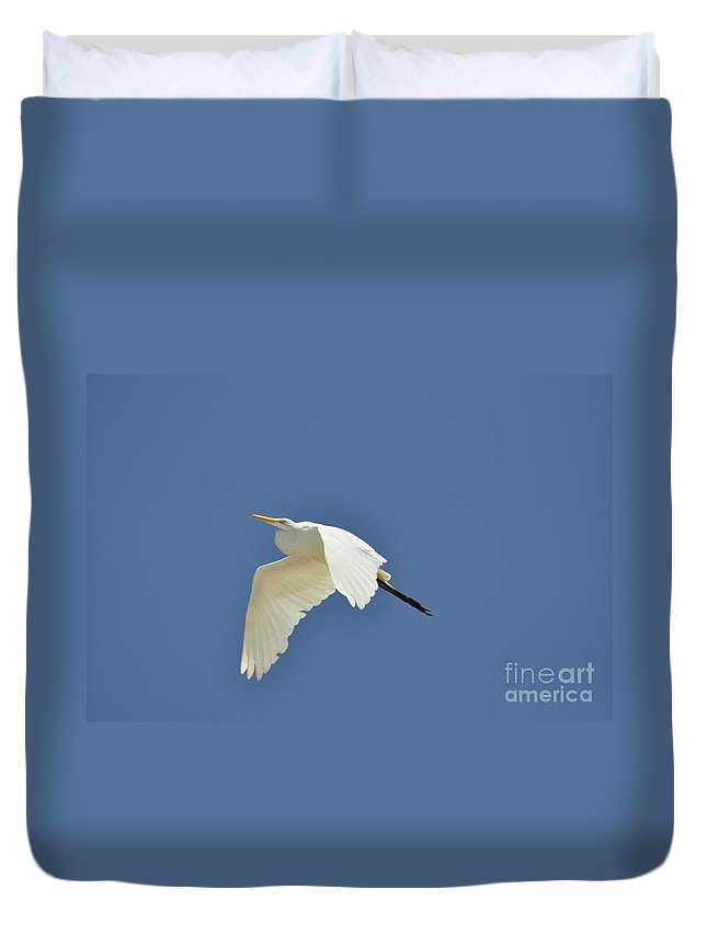 Clay Duvet Cover featuring the photograph In Flight by Clayton Bruster