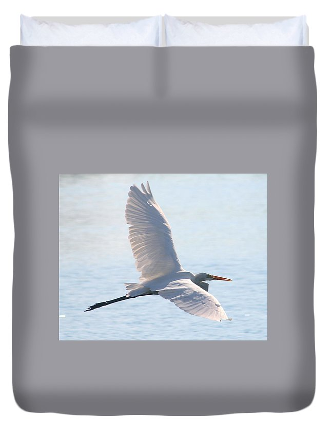 In Flight Duvet Cover featuring the photograph In Flight by Delphine Ross