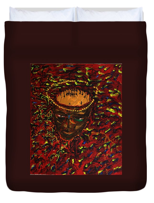 Jesus Duvet Cover featuring the painting In Gethsemane by Gloria Ssali