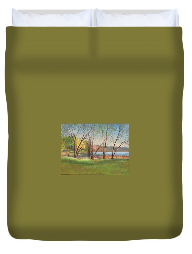 Mcgrath Duvet Cover featuring the painting In Just Spring At Plug by Leslie Alfred McGrath