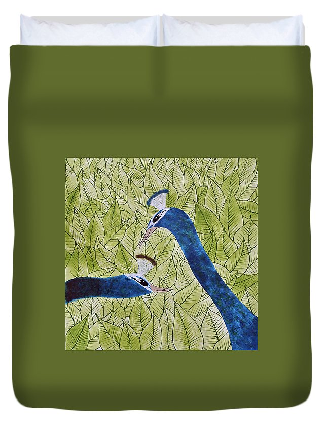 Peacock Duvet Cover featuring the painting In Love by Sumit Mehndiratta