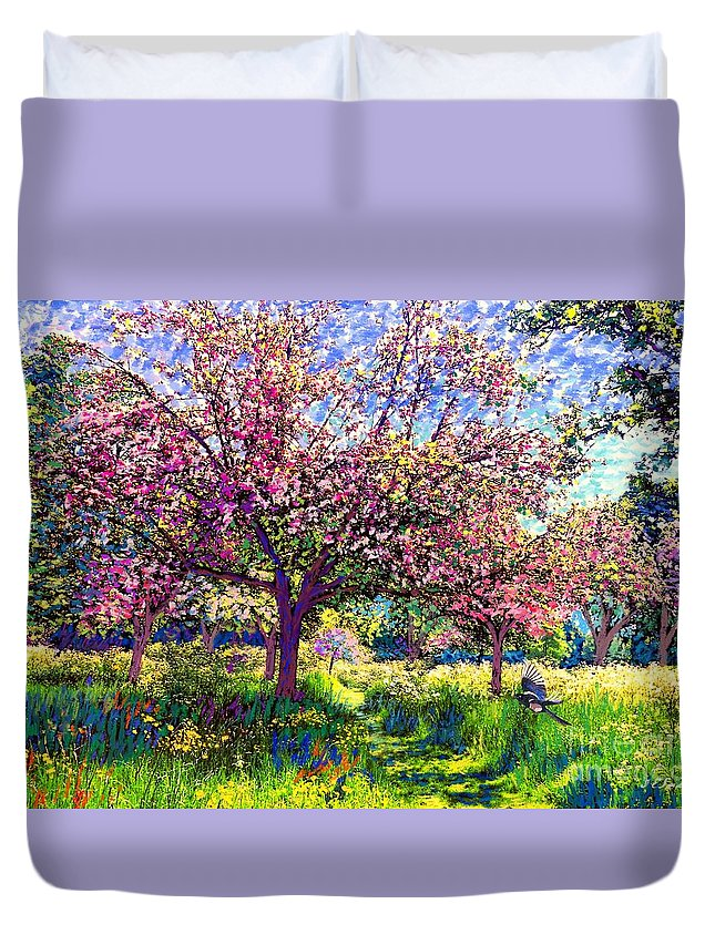 Floral Duvet Cover featuring the painting In Love with Spring, Blossom Trees by Jane Small