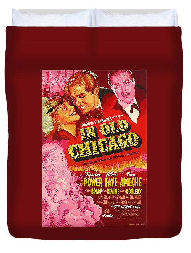 Movie Duvet Cover featuring the mixed media In Old Chicago 1937 by Mountain Dreams