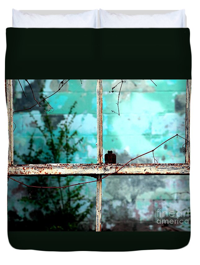 Windows Duvet Cover featuring the photograph In Or Out by Amanda Barcon