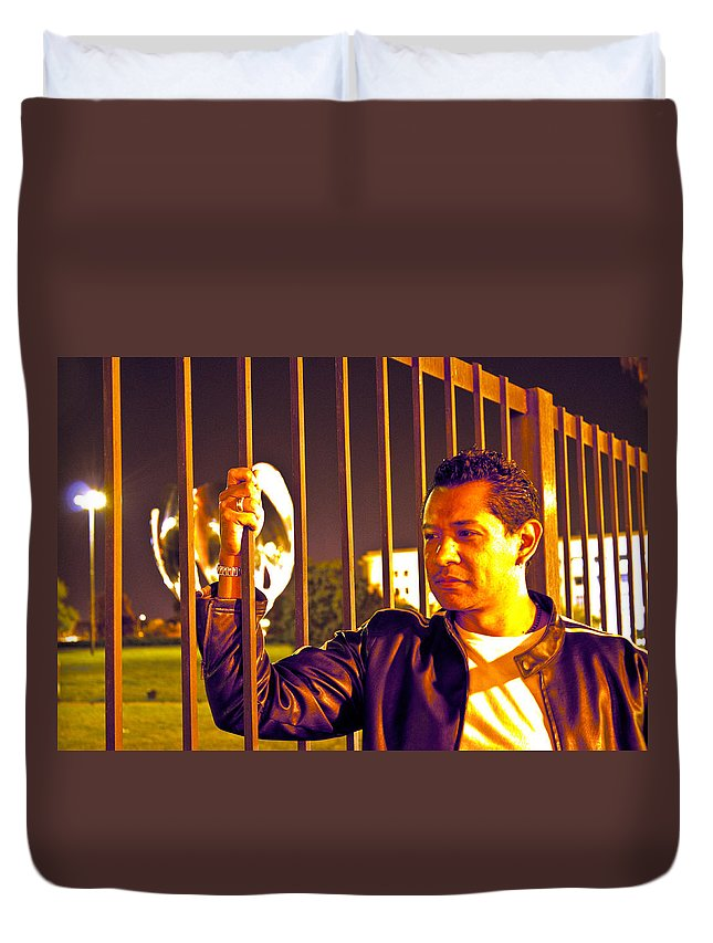 Duvet Cover featuring the photograph In Or Out by Francisco Colon