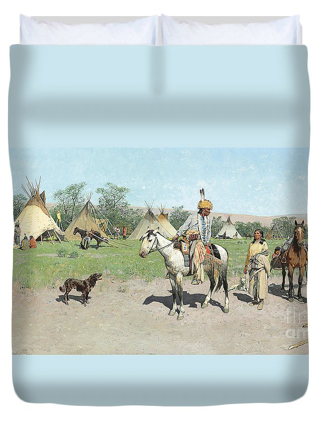 Indians Duvet Cover featuring the painting In Pastures New by Henry Francois Farny